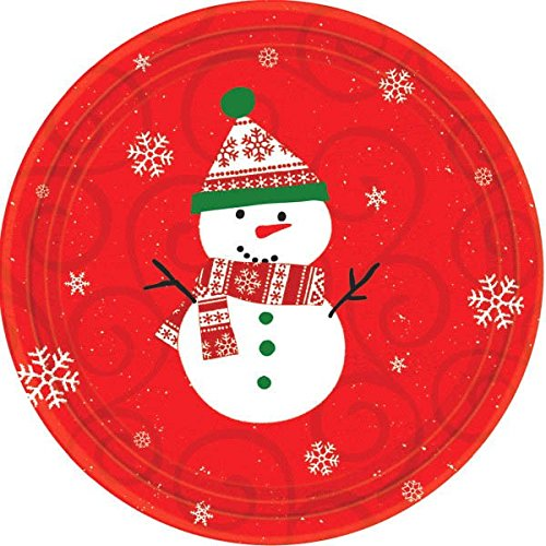 Snowman Christmas Luncheon Round Paper Plates, 10 Ct. | Party Tableware