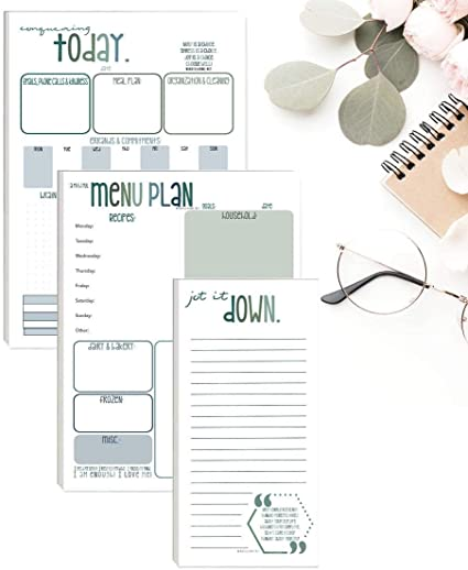 Weekly Planner, Meal Planner and Jot it Down to do List (Pack of 3) Organizing Tear Off Notepads for Daily Homemaking Checklists with 50 Premium Sheets from Mindful Home